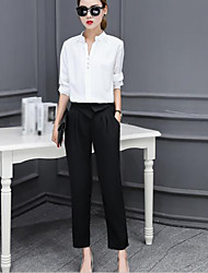 Women's Business Casual Fall Shirt Pant Suits,Solid V Neck 3/4 Length Sleeve
