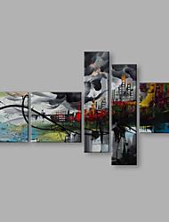 preiswerte -Handgemalte Landschaft Vertikal Panorama, Künstlerisch Abstrakt Modern/Zeitgenössisch Segeltuch Hang-Ölgemälde Haus Dekoration Fünf Panele