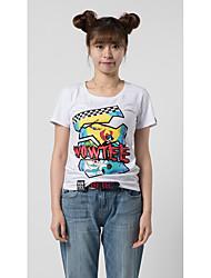 economico -T-shirt Da donna Per uscire Casual Athleisure Semplice Romantico Attivo Estate,Di tendenza Personaggio Nero e bianco RotondaCotone