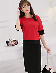 Women's Work Casual Summer T-shirt Skirt Suits,Color Block Round Neck Short Sleeve Cotton/nylon with a hint of stretch Inelastic