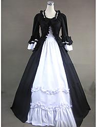 abordables -Gótico / Victoriano / Medieval Disfraz Mujer Vestidos / Ropa de Fiesta / Baile de Máscaras Negro Cosecha Cosplay Algodón / Other Manga