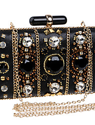 cheap -Women Bags PU Polyester Evening Bag Rhinestone for Wedding Event/Party Formal Party & Evening Club All Seasons Black