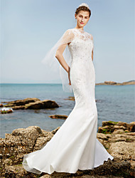 Mermaid / Trumpet Spaghetti Straps Sweep / Brush Train Lace Tulle Wedding Dress with Crystal Beading by LAN TING BRIDE®