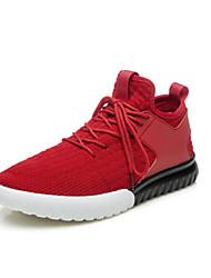abordables -Hombre Zapatillas de deporte Tul Primavera Otoño Paseo Tacón Plano Negro Rojo Plano