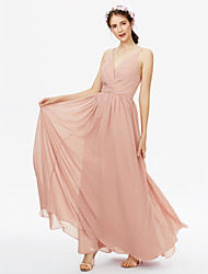 cheap -A-Line V Neck Floor Length Chiffon Bridesmaid Dress with Sash / Ribbon Pleats Criss Cross by LAN TING BRIDE®