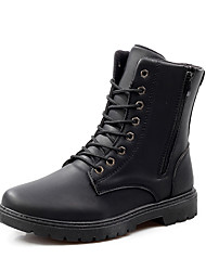 Men's Boots Comfort Slouch boots Spring Fall Winter PU Athletic Lace-up Flat Heel Black Dark Brown Light Brown Flat