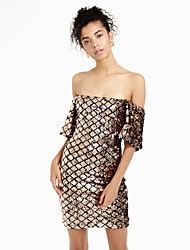 cheap -Women's Club Street chic Bodycon Dress - Solid Colored Backless / Sequins Boat Neck