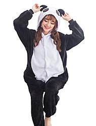 abordables -Pijama kigurumi Oso Panda Pijama Mono Pijamas Disfraz Franela Vellón Negro Cosplay por Adulto Ropa de Noche de los Animales Dibujos
