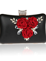 Women Bags All Seasons PVC Polyester Evening Bag Flower for Wedding Event/Party Formal Gold Black Silver Red Rose Red