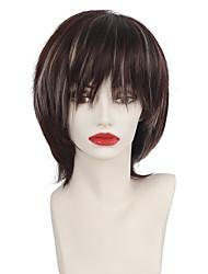 abordables -Pelucas sintéticas Recto Con flequillo Pelo sintético Marrón Peluca Mujer Corta Sin Tapa