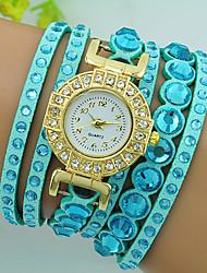 baratos -Mulheres Bracele Relógio Com Strass Couro Banda Boêmio / Rígida Preta / Vermelho / Bege / Um ano / Tianqiu 377