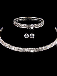 cheap -Women's Bangles Choker Necklaces Earrings  Cubic Zirconia Silver Simple Elegant Jewelry set Fof Wedding Party