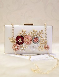 Women Bags All Seasons PU Evening Bag Flower for Event/Party Date Party & Evening White Black Pale Pink