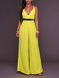 cheap -Women's Work Going out Cotton Jumpsuit - Solid Colored, Pure Color High Rise Wide Leg Deep V