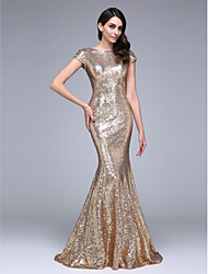 cheap -Mermaid / Trumpet Bateau Neck Court Train Sequined Formal Evening Dress with Sequins by TS Couture®