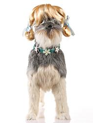 abordables -Gato Perro Disfraces Pelucas Ropa para Perro Fiesta Cosplay Halloween Navidad Año Nuevo Sólido Dorado Disfraz Para mascotas