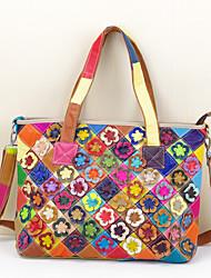 Women Bags All Seasons Cowhide Shoulder Bag Flower for Rainbow Black/White