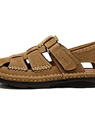 Camek Men's Daily Leisure Magic Tape Close Toe Fashion Cow Leather Sandal Shoes Color Light Brown/Coffee