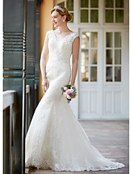 cheap -Mermaid / Trumpet V-neck Court Train Lace Wedding Dress with Beading Appliques Sash / Ribbon Button Ruche by LAN TING BRIDE®