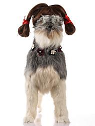 abordables -Gato Perro Navidad Pelucas Ropa para Perro Fiesta Casual/Diario Cosplay Halloween Año Nuevo Sólido Marrón Disfraz Para mascotas