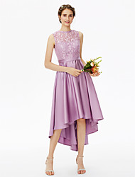 A-Line Jewel Neck Asymmetrical Lace Satin Bridesmaid Dress with Lace Sash / Ribbon Pleats by LAN TING BRIDE®