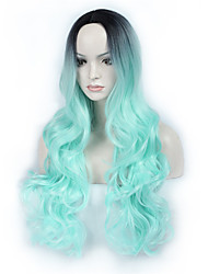 Hot Selling Black To Light Green Ombre Color Long Wave Women Wig Heat Resisting Syntheitc Wig