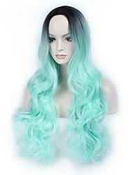Ženy Dlouhý Zelená Vlnité Ombre vlasy Umělé vlasy Bez krytky Přírodní paruka paruky