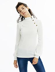 economico -T-shirt Da donna Casual Semplice Autunno,Tinta unita A collo alto Cotone Bianco / Nero / Grigio / Arancione Manica lunga Medio spessore