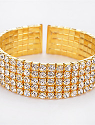 cheap -Women's Rhinestone Rhinestone Cuff Bracelet - Fashion Rock Punk Geometric Bullet Gold Silver Bracelet For Christmas Gifts Wedding Party