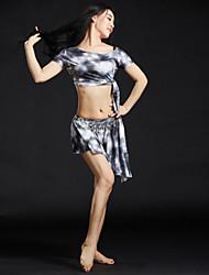 Danse du ventre Tenue Femme Entraînement Fibre de Lait Strass 4 Pièces Manche courte Taille basse Hauts Robe Ceinture Short