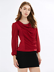 Women's Casual/Daily Sexy / Punk & Gothic All Seasons Blouse,Solid Round Neck Long Sleeve Red / White / Black Polyester Thin
