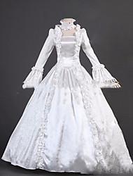Un Pezzo/Vestiti Gotico Lolita Cosplay Vestiti Lolita Bianco Vintage Ad aletta Manica lunga Raso terra Abito Per Altro