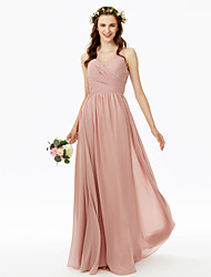 cheap -A-Line V Neck Floor Length Chiffon Bridesmaid Dress with Lace Pleats Criss Cross Side Draping by LAN TING BRIDE®