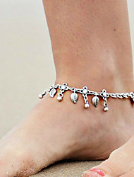 Women's Retro Fashion Metal Water Drops Silver Leaf Tassel Anklet Alloy Jewelry For Daily Casual 1 pc