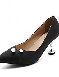 Women's Heels Leatherette PU Summer Fall Walking Imitation Pearl Stiletto Heel Black Ruby Almond 2in-2 3/4in