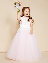 cheap -Ball Gown Floor Length Flower Girl Dress - Lace Tulle Sleeveless Crew Neck with Appliques Lace Sash / Ribbon by LAN TING BRIDE®