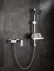 Contemporary Art Deco/Retro Modern Wall Mounted Rainfall Widespread Handshower Included Wall Mount with  Brass ValveSingle Handle Two