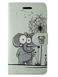 preiswerte -Hülle Für Samsung Galaxy A5(2017) A3(2017) Kreditkartenfächer Geldbeutel mit Halterung Flipbare Hülle Ganzkörper-Gehäuse Elefant