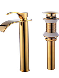 cheap -Faucet Set - Waterfall Gold Centerset Single Handle One Hole