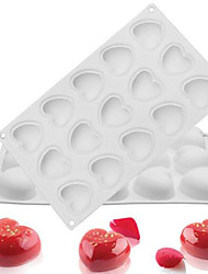 Silicone 15 Hole Heart-Shaped Non-Stick Mousse Mold Chocolate Bread Dessert Cake Decorators Baking Supplies