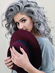 cheap -Top Quality Gray Hair Color Wig Heat Resistant Synthetic Hair Wig Water Wave Wig Lace Front Wig