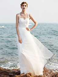 cheap -A-Line Straps Sweep / Brush Train Tulle Made-To-Measure Wedding Dresses with Sequin / Ruched by LAN TING BRIDE®
