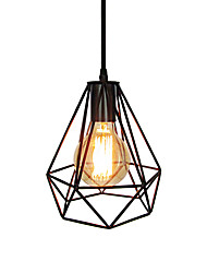 cheap -Vintage Black Metal Cage Loft Mini Pendant Lights Living Room Dining Room Hallway Cafe Bars Light Fixture