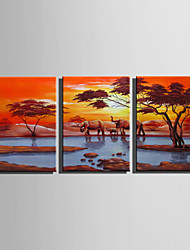 E-HOME Stretched Canvas Art  The Elephant Family in The Sunset Decoration Painting Set Of 3