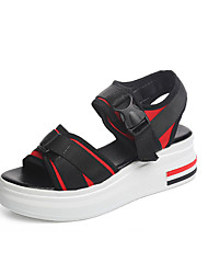 Women's Sandals Comfort Flange Beach Fashion Color Block Spring Summer Casual Outdoor Comfort Buckle Creepers Red Black