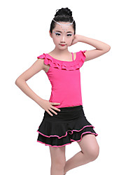 cheap -Shall We Latin Dance Outfits Kid's Children's Performance Cotton Milk Fiber Ruched Draped