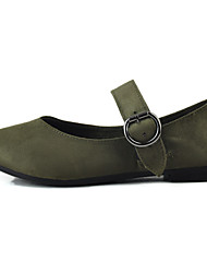 cheap -Women's Flats Light Soles Fabric Spring Casual Buckle Flat Heel Green Brown Black Flat