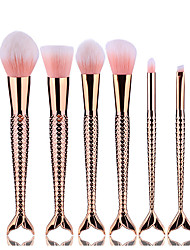 cheap -6pcs Rose Gold Double Fish Tail Makeup Brush Set Blush Brush Eyeshadow Eyeliner Brush Eyelash Brush dyeing Brush Powder Brush Sponge Synthetic Hair