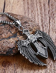 Men's Pendant Necklaces Statement Necklaces Crystal Circle Star Cross Wings / Feather Stainless Steel Titanium Steel Costume Jewelry
