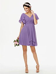 cheap -A-Line V Neck Short / Mini Chiffon Bridesmaid Dress with Side-Draped Pleats Criss Cross by LAN TING BRIDE®